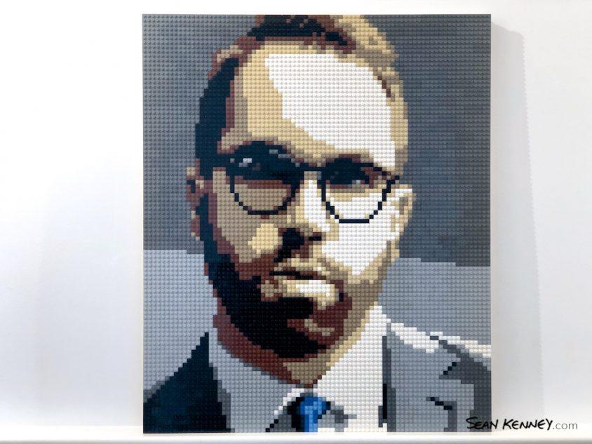 Sharp-dressed-man LEGO art by Sean Kenney