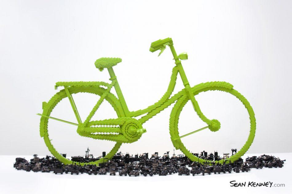 Bicycle-triumphs-traffic-2020 LEGO art by Sean Kenney