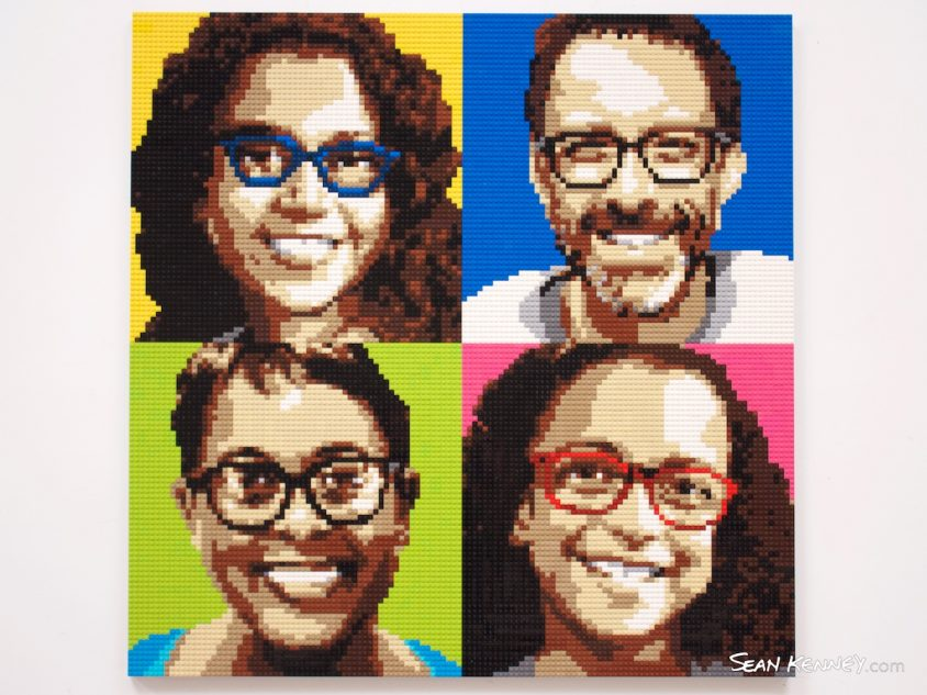 Pop-family-portrait LEGO art by Sean Kenney