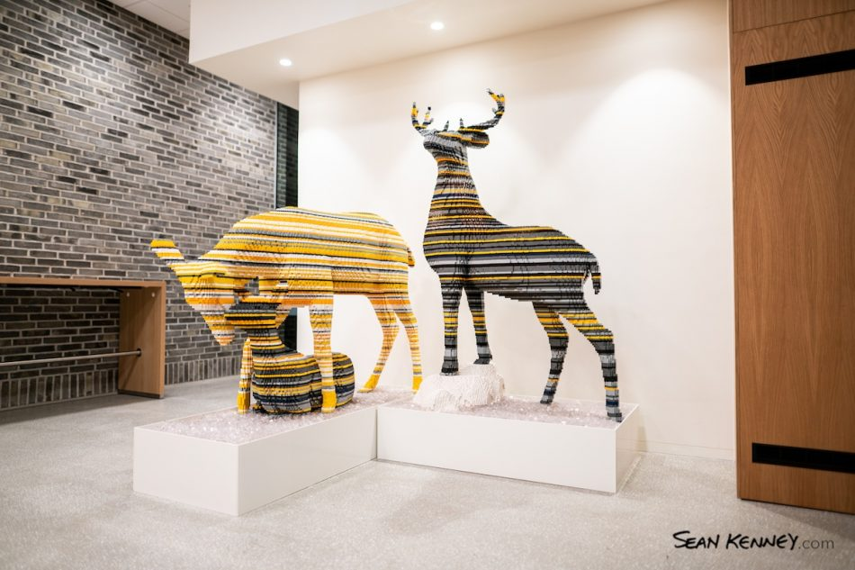 Pop-deer-family-at-lego-headquarters LEGO art by Sean Kenney