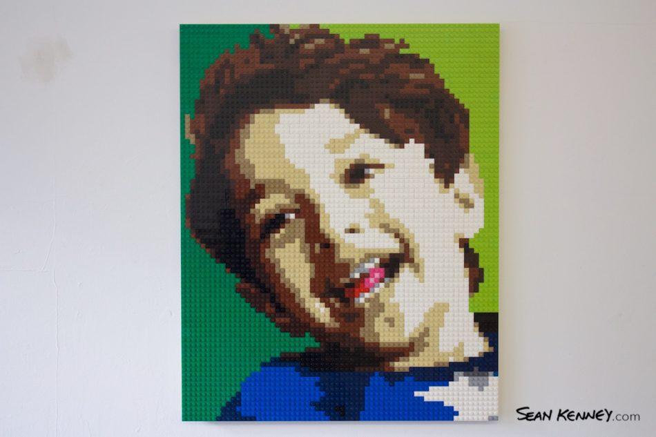 Son-on-green LEGO art by Sean Kenney