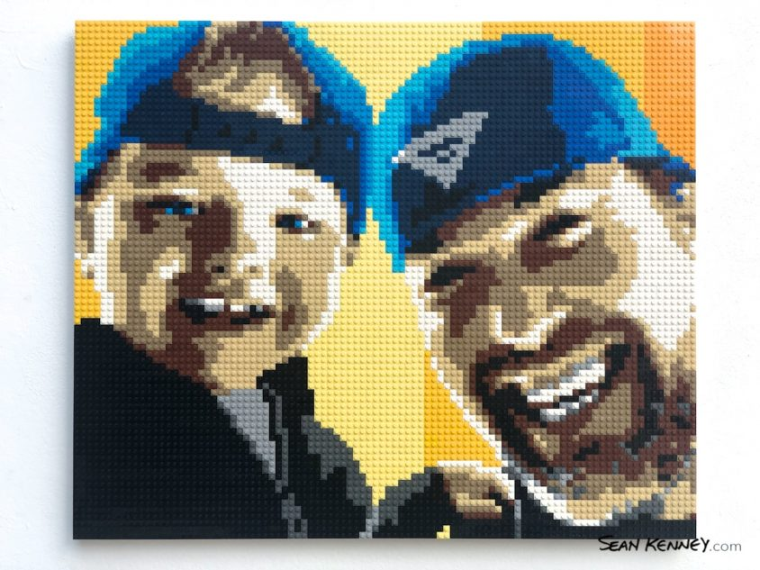 Men-with-hats LEGO art by Sean Kenney