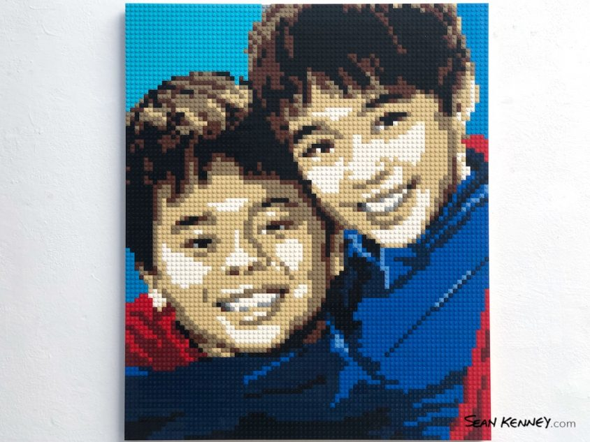 Brotherly-love LEGO art by Sean Kenney