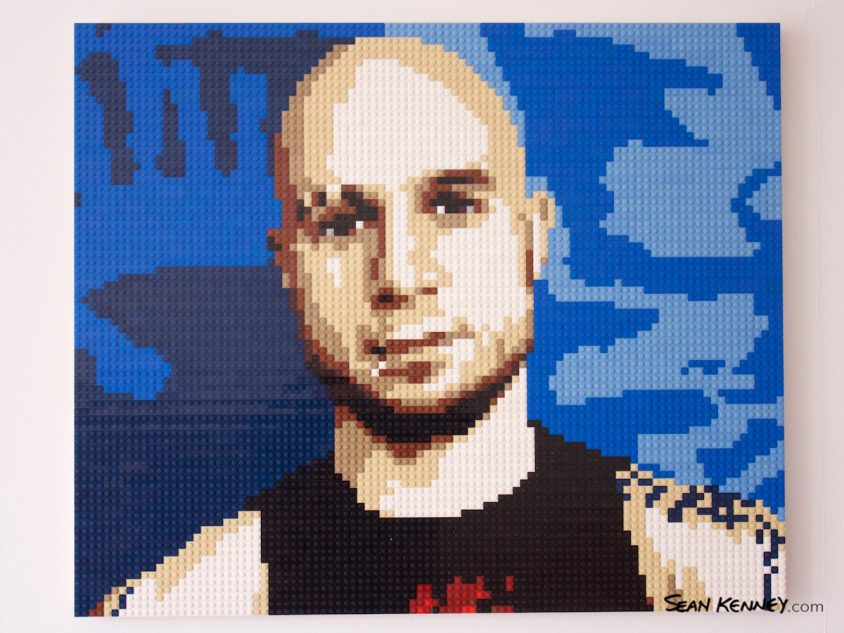 Tattooed-man LEGO art by Sean Kenney