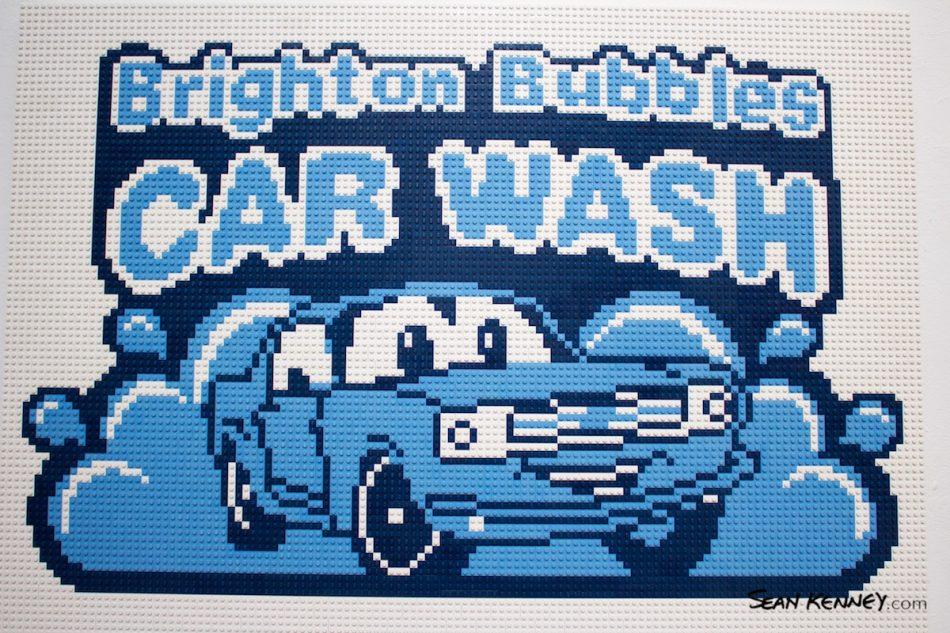 Cartoon-car-wash-mural LEGO art by Sean Kenney